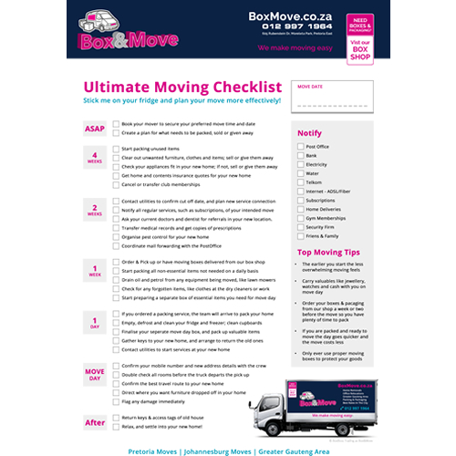 Ultimate Moving Checklist Pretoria